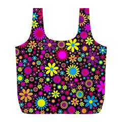 Bright And Busy Floral Wallpaper Background Full Print Recycle Bags (l)