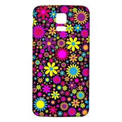 Bright And Busy Floral Wallpaper Background Samsung Galaxy S5 Back Case (white)