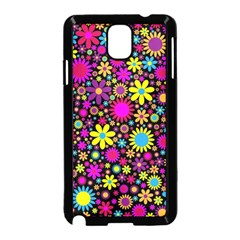 Bright And Busy Floral Wallpaper Background Samsung Galaxy Note 3 Neo Hardshell Case (black)