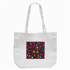 Bright And Busy Floral Wallpaper Background Tote Bag (white)