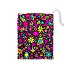 Bright And Busy Floral Wallpaper Background Drawstring Pouches (medium)
