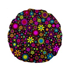 Bright And Busy Floral Wallpaper Background Standard 15  Premium Flano Round Cushions