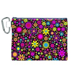 Bright And Busy Floral Wallpaper Background Canvas Cosmetic Bag (xl)