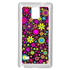Bright And Busy Floral Wallpaper Background Samsung Galaxy Note 4 Case (white)