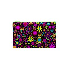 Bright And Busy Floral Wallpaper Background Cosmetic Bag (xs)