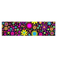 Bright And Busy Floral Wallpaper Background Satin Scarf (oblong)