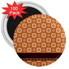 Floral Seamless Pattern Vector 3  Magnets (100 Pack)