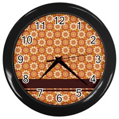 Floral Seamless Pattern Vector Wall Clocks (black)