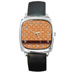 Floral Seamless Pattern Vector Square Metal Watch