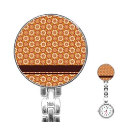 Floral Seamless Pattern Vector Stainless Steel Nurses Watch