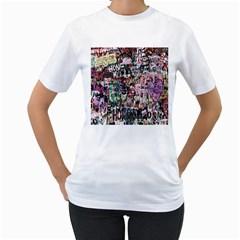 Graffiti Wall Pattern Background Women s T Shirt (white) (two Sided)
