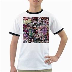 Graffiti Wall Pattern Background Ringer T Shirts