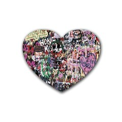 Graffiti Wall Pattern Background Heart Coaster (4 Pack)