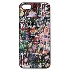 Graffiti Wall Pattern Background Apple Iphone 5 Seamless Case (black)