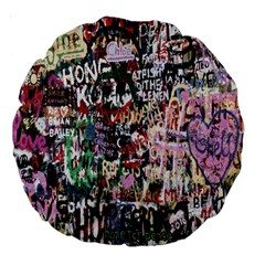 Graffiti Wall Pattern Background Large 18  Premium Round Cushions