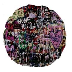 Graffiti Wall Pattern Background Large 18  Premium Flano Round Cushions