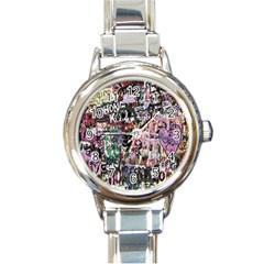 Graffiti Wall Pattern Background Round Italian Charm Watch