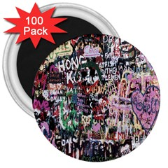 Graffiti Wall Pattern Background 3  Magnets (100 Pack)
