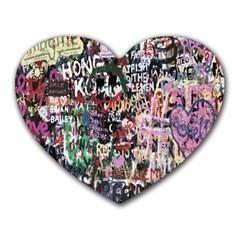 Graffiti Wall Pattern Background Heart Mousepads