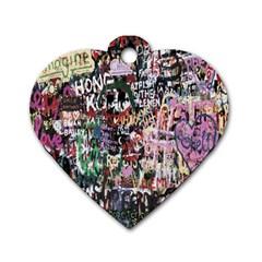 Graffiti Wall Pattern Background Dog Tag Heart (one Side)