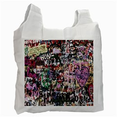 Graffiti Wall Pattern Background Recycle Bag (two Side)