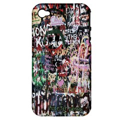 Graffiti Wall Pattern Background Apple Iphone 4/4s Hardshell Case (pc+silicone)