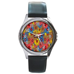 Background With Multi Color Floral Pattern Round Metal Watch