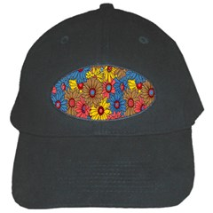 Background With Multi Color Floral Pattern Black Cap