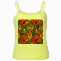 Background With Multi Color Floral Pattern Yellow Spaghetti Tank