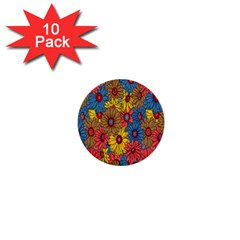 Background With Multi Color Floral Pattern 1  Mini Buttons (10 Pack)