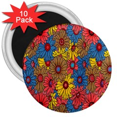Background With Multi Color Floral Pattern 3  Magnets (10 Pack)