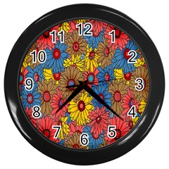 Background With Multi Color Floral Pattern Wall Clocks (black)