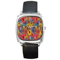 Background With Multi Color Floral Pattern Square Metal Watch