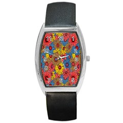 Background With Multi Color Floral Pattern Barrel Style Metal Watch