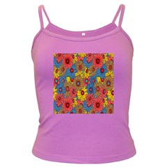 Background With Multi Color Floral Pattern Dark Spaghetti Tank