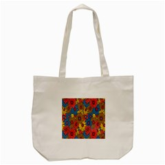 Background With Multi Color Floral Pattern Tote Bag (cream)