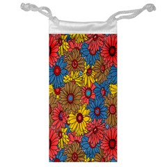 Background With Multi Color Floral Pattern Jewelry Bag
