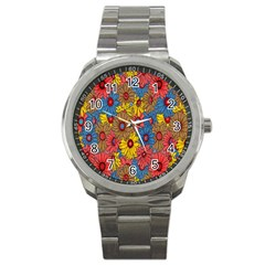 Background With Multi Color Floral Pattern Sport Metal Watch