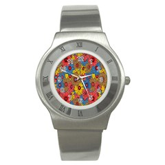 Background With Multi Color Floral Pattern Stainless Steel Watch