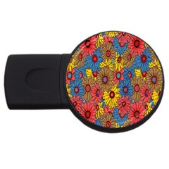 Background With Multi Color Floral Pattern Usb Flash Drive Round (4 Gb)