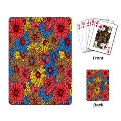 Background With Multi Color Floral Pattern Playing Card