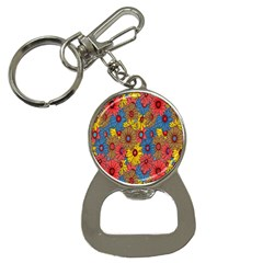 Background With Multi Color Floral Pattern Button Necklaces
