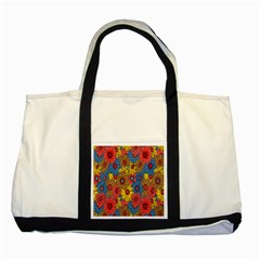 Background With Multi Color Floral Pattern Two Tone Tote Bag