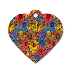 Background With Multi Color Floral Pattern Dog Tag Heart (two Sides)