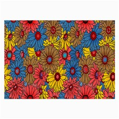 Background With Multi Color Floral Pattern Large Glasses Cloth