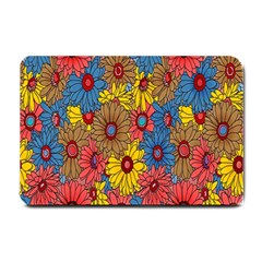 Background With Multi Color Floral Pattern Small Doormat