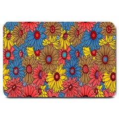 Background With Multi Color Floral Pattern Large Doormat