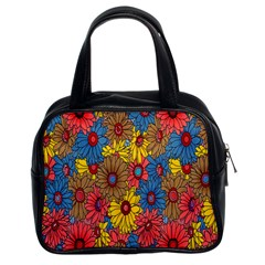 Background With Multi Color Floral Pattern Classic Handbags (2 Sides)