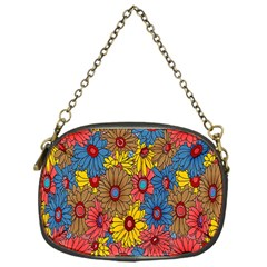Background With Multi Color Floral Pattern Chain Purses (one Side)