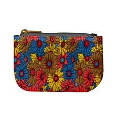 Background With Multi Color Floral Pattern Mini Coin Purses